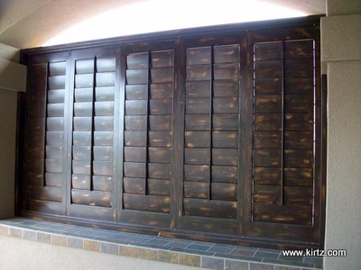 Distressed Shutters And Specialty Finishes On Plantation