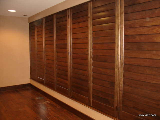 Walnut Shutters, Hidden Tilt, Louvers Closed