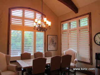 White wood blinds with oak trim image of for Should plantation shutters match trim