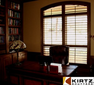 finished room view, red oak shutter with decorative frame