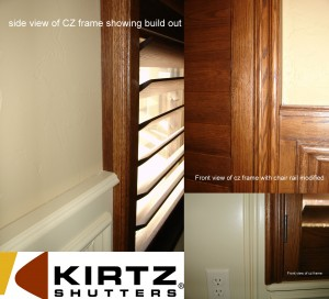 plantation shutters in windows with wainscotting